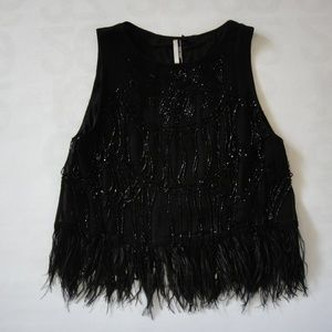 Topshop Cropped Feather & Beaded Trim Flapper Top